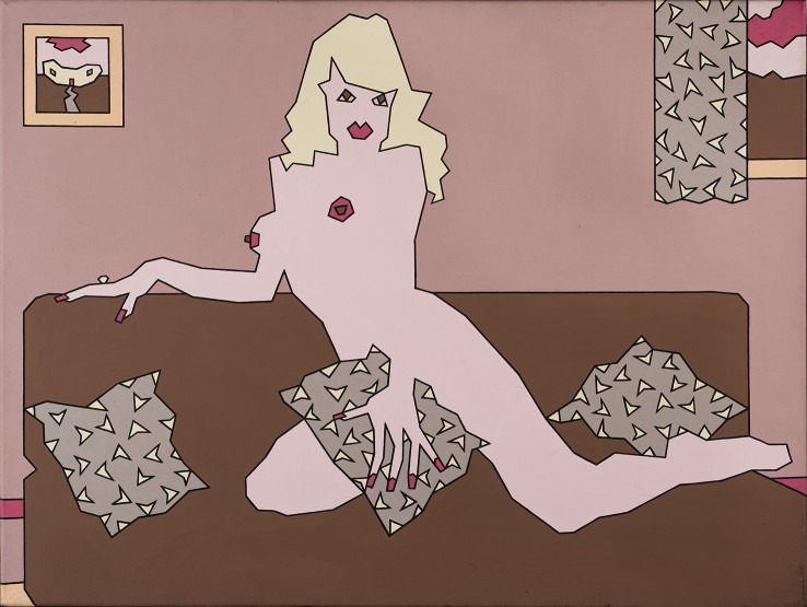 Duggie Fields  Blonde with strategically placed Cushion, 1970  Acrylic on canvas  76 x 101 cm