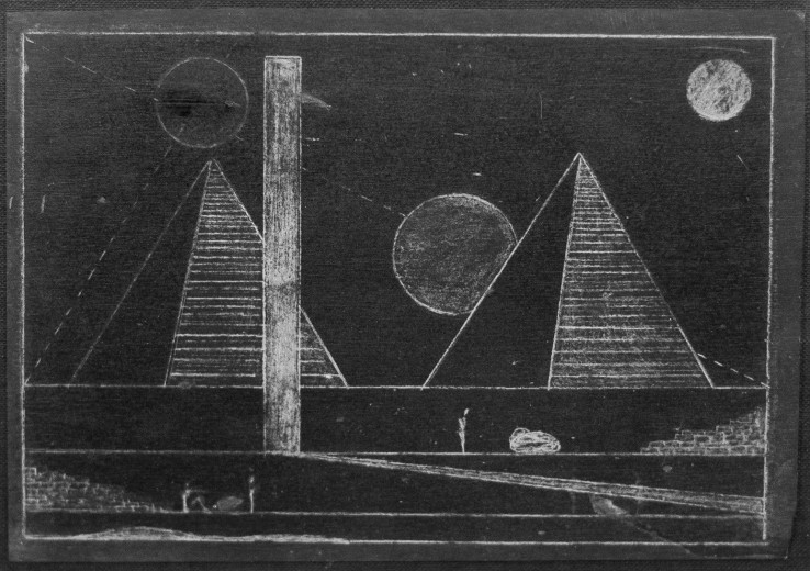 Derek Jarman  New Year's Eve, 1978  Etched slate  15 x 20 cm