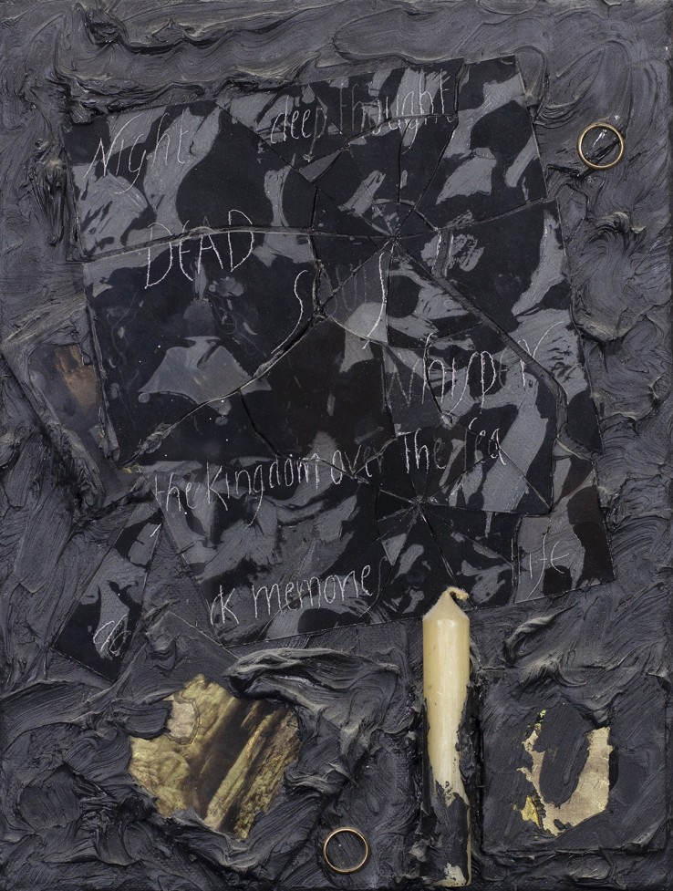 Derek Jarman  The Kingdom over the Sea, 1987  Oil, glass, wax and metal on canvas  41 x 31 cm