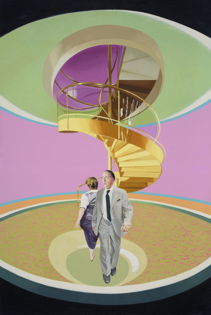 Neil Stokoe  Man and Woman Spiral Staircase, 1983  Oil on canvas  266.7 x 180.3 cm