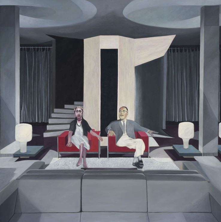 Neil Stokoe  Seated Man and Woman I, 1963-66  Oil on canvas  213 x 213 cm