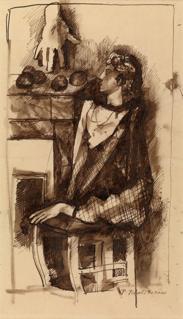 Pavel Tchelitchew  Portrait - Nature Morte, c.1930  Pen, ink and brown wash on paper  43.8 x 22.9 cm  Courtesy of Whitford Fine Art