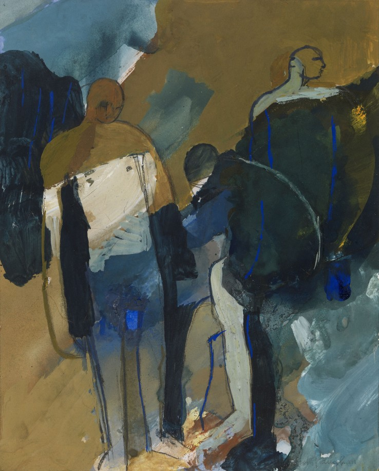 Keith Vaughan  Three Figures - 'lowa Bather', 1959  Gouache on paper  17.2 x 14 cm