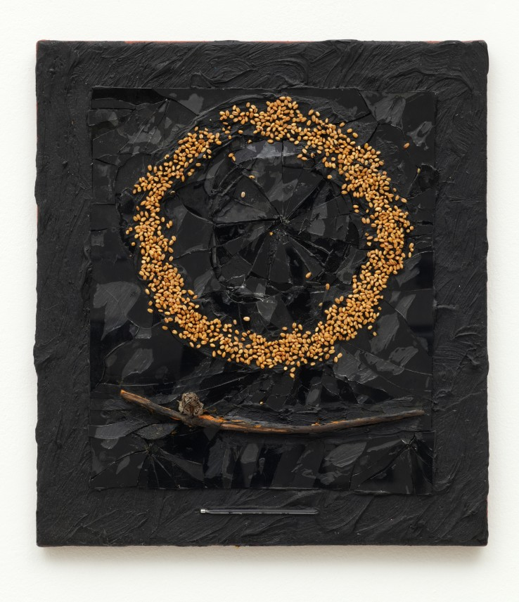 Derek Jarman,  Untitled (Seed Pod/Corn Circle), 1991  Oil and mixed media on canvas  Courtesy of Wilkinson Gallery