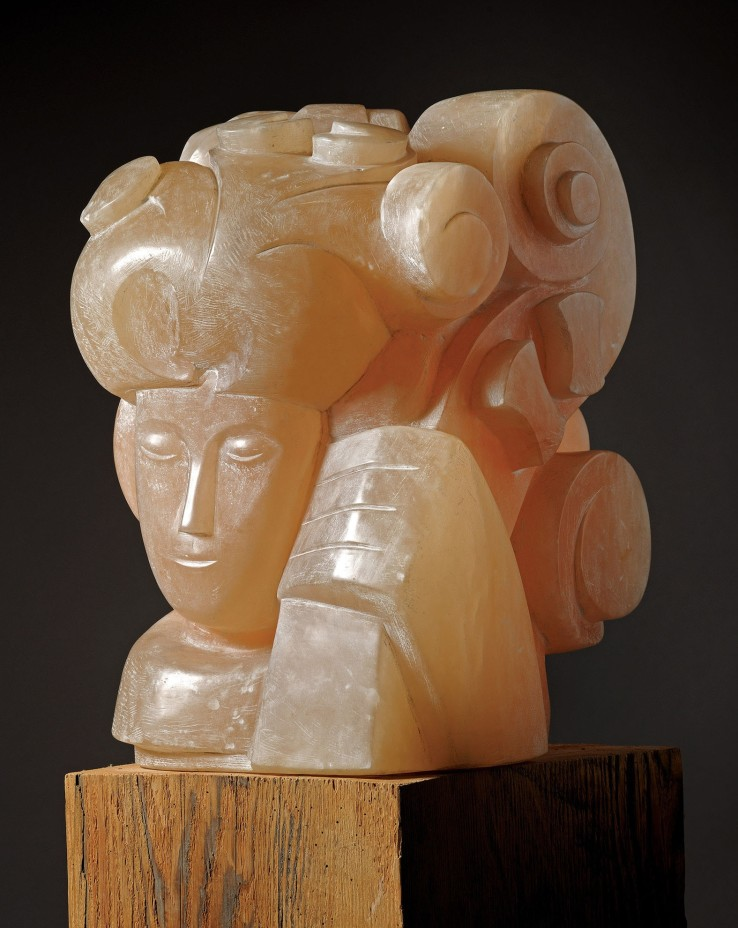 George Kennethson  Girl with Cello, 1960  Alabaster  17.5 x 12 x 11.5 cm