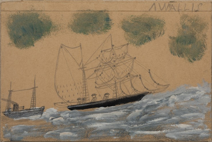 Alfred Wallis  Sailing Ship and Steamer  Oil and pastel on card  18 x 27 cm