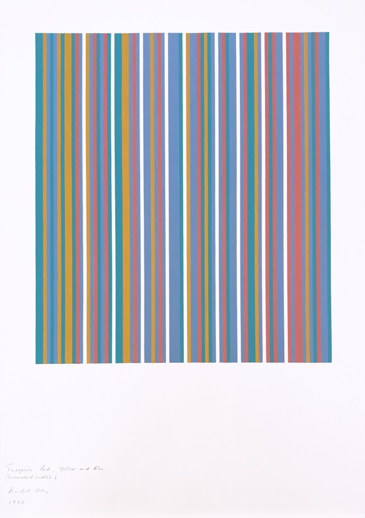 Bridget Riley  Turquoise, Red, Yellow and Blue (increased width)  1982  Gouache on paper  94 x 75 cm