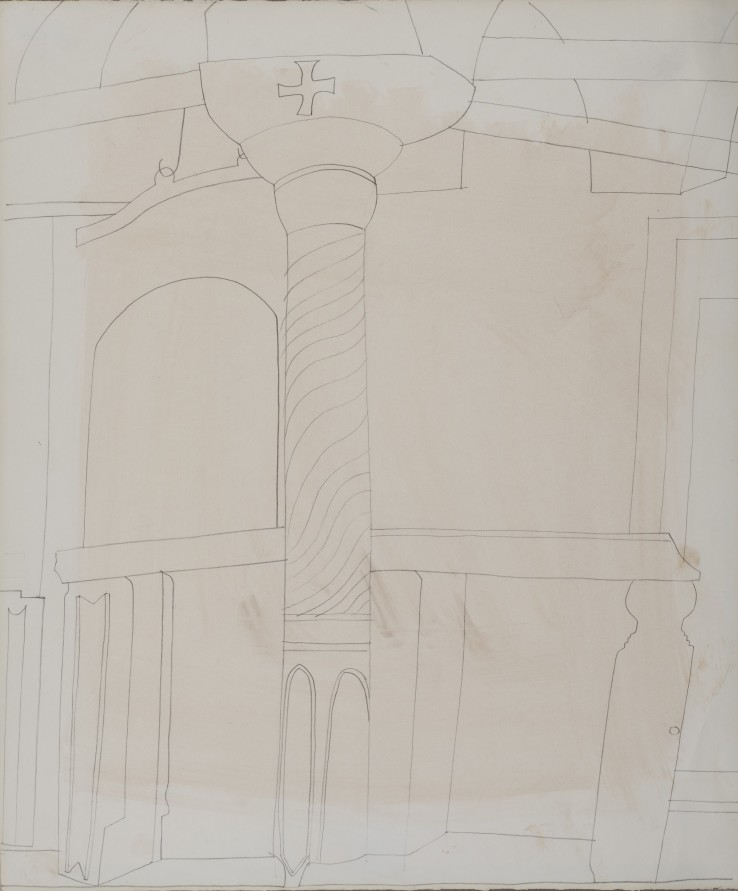 Ben Nicholson  Pillar in monastery at Patmos  1967  Pencil and oil wash on paper  45 x 37.5 cm