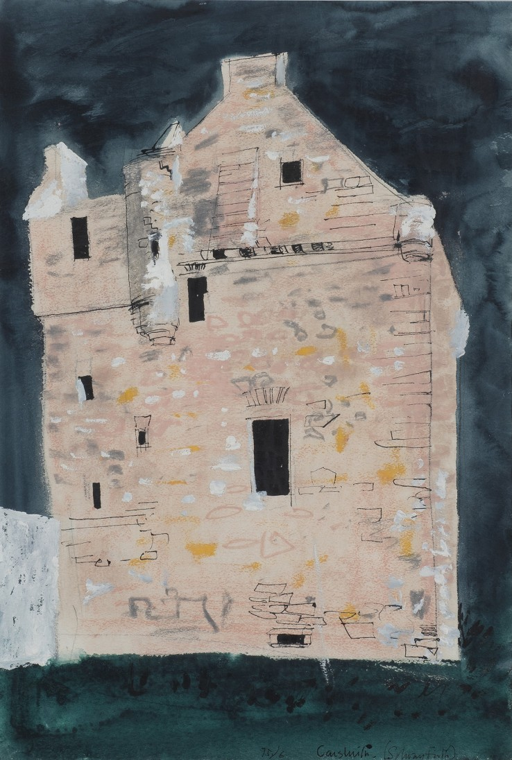 John Piper  Castle Sluith  1976  Ink, wash and watercolour on paper  56.5 x 38 cm