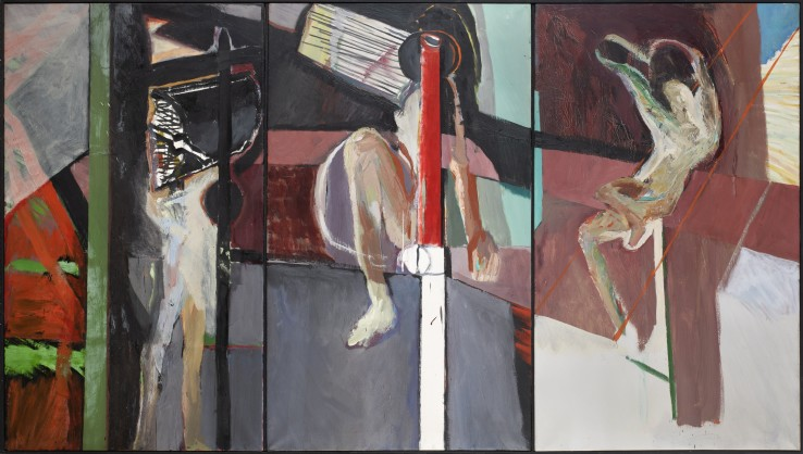 Patrick Procktor RA  Single Figure: I, II, III  1963  Oil on three canvases  120 x 210 cm