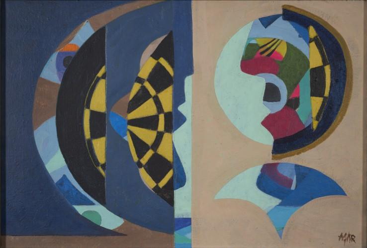 Eileen Agar  The Meeting, 1976  Acrylic on canvas, 38.1 x 55.9 cm