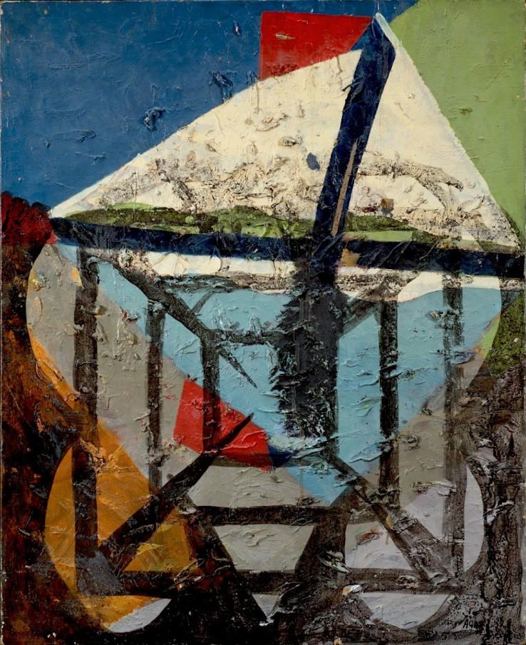Eileen Agar,  Geometric Landscape, 1962  Oil on canvas, 73.7 x 58.4 cm