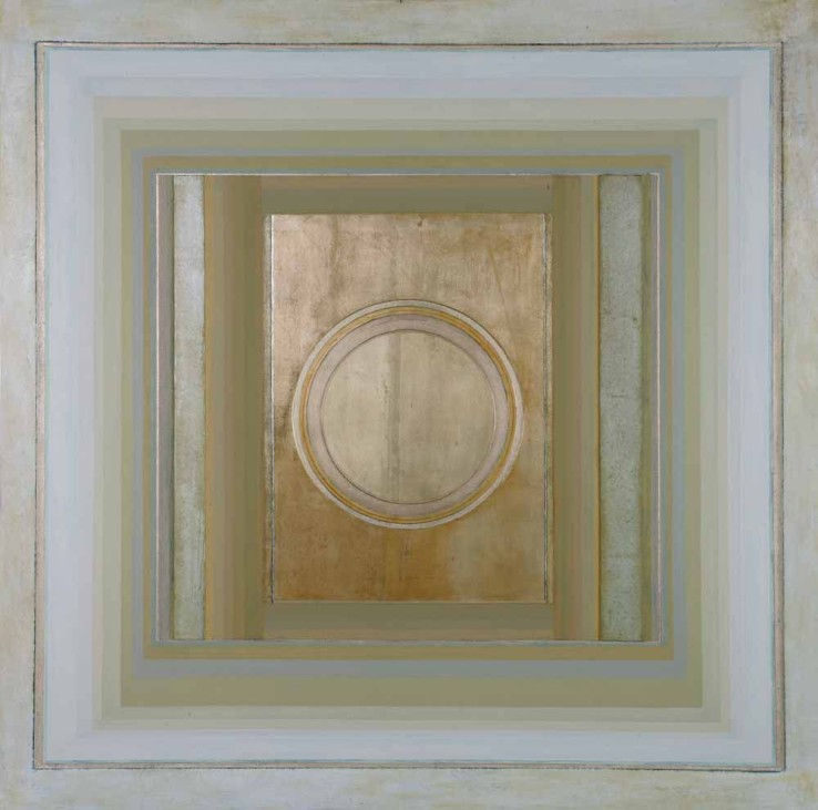 Paul Feiler,  Janicon XC, 2004,  Oil, silver and gold leaf, gessoed board and gesso on canvas, 142.2 x 142.2 cm
