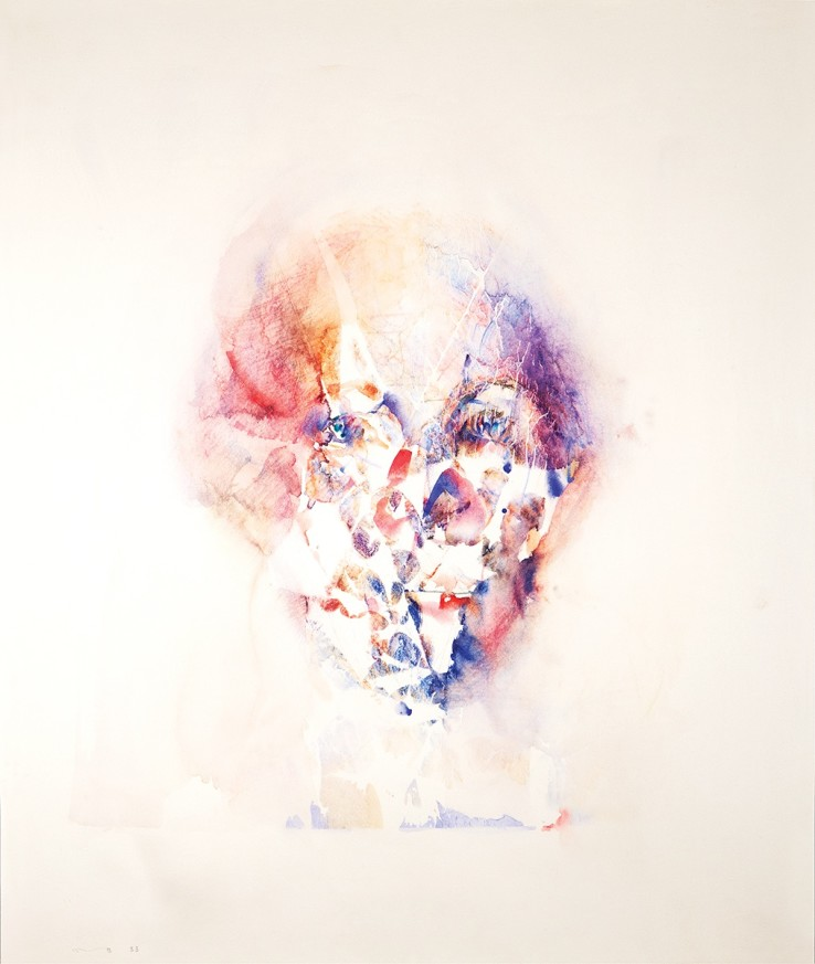 Louis Le Brocquy, Study towards an image of William Shakespeare, 1983,  Watercolour on paper, 52.4 x 43.8 cm