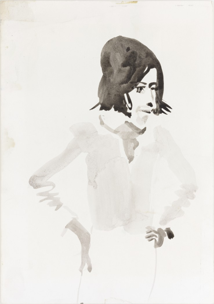 Patrick Procktor RA  Ossie Clark, 1967  Ink and wash on paper  30 x 21 cm