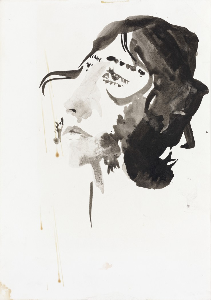 Patrick Procktor RA  Ossie Clark, 1967  Ink and wash on paper  31 x 20 cm