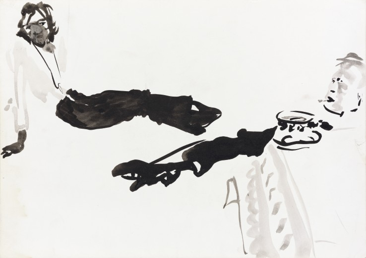 Patrick Procktor RA  Ossie Clark, 1967  Ink and wash on paper  21 x 30 cm
