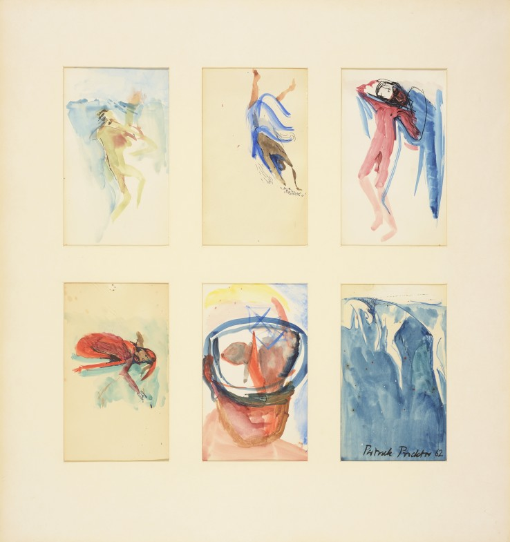 Patrick Procktor RA  Michael Upton Swimming Underwater, 1962  Watercolour on paper  21 x 12 cm (each sheet)
