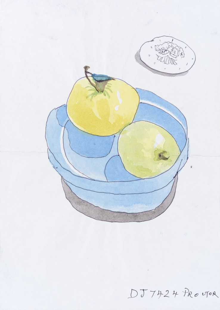 Patrick Procktor RA  Untitled (Still Life), 1999  Watercolour and ink on paper  36 x 25 cm  Inscribed 'DJ 7424 Procktor'