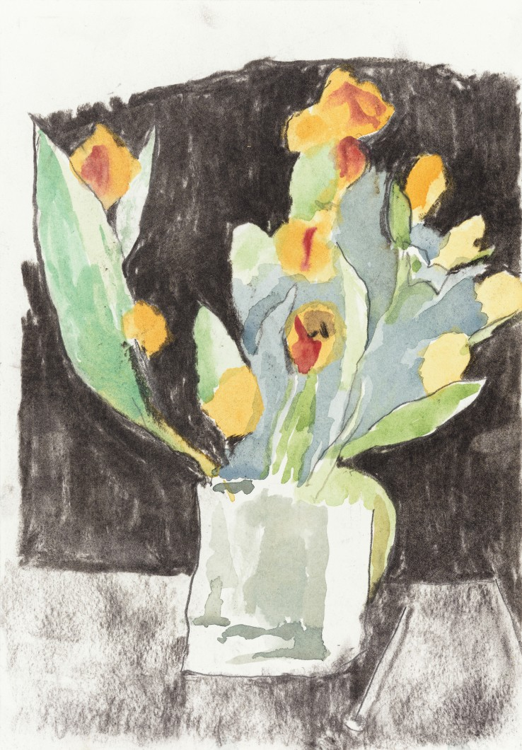Patrick Procktor RA  Untitled (Flowers), c.2000  Mixed media on paper  26 x 18 cm