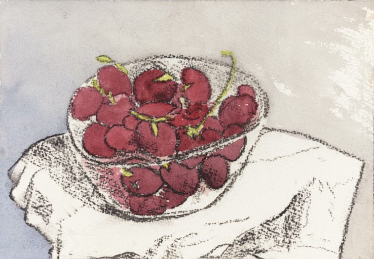 Patrick Procktor RA  Untitled (Cherries in a Bowl), c.2000  Mixed media on paper  18 x 26 cm