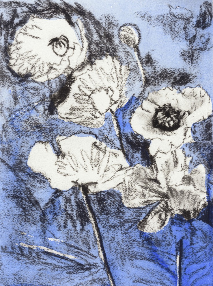 Patrick Procktor RA  Untitled (Flowers on Blue), c.2000  Mixed media on paper  22 x 16 cm