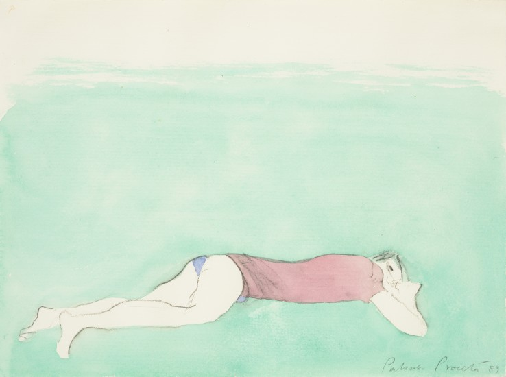 Patrick Procktor RA  Figure Lying on the Grass, 1989  Watercolour and pencil on paper  24 x 33 cm  Signed and dated lower right