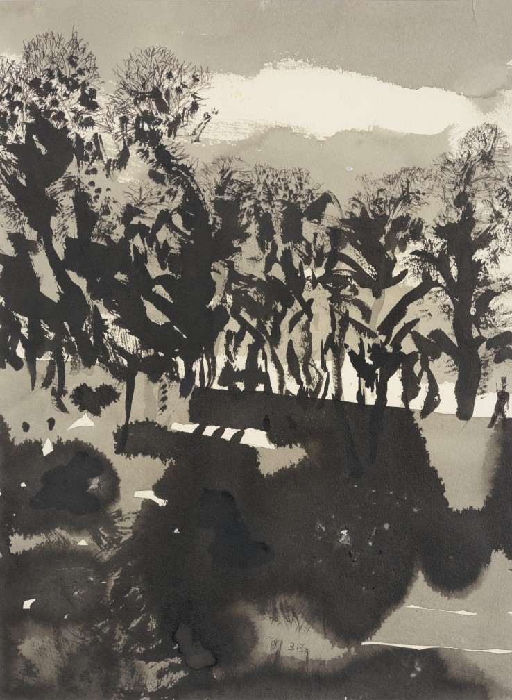 Patrick Procktor RA  Untitled (Landscape), c.2002  Ink and wash on paper  40 x 30 cm  Signed