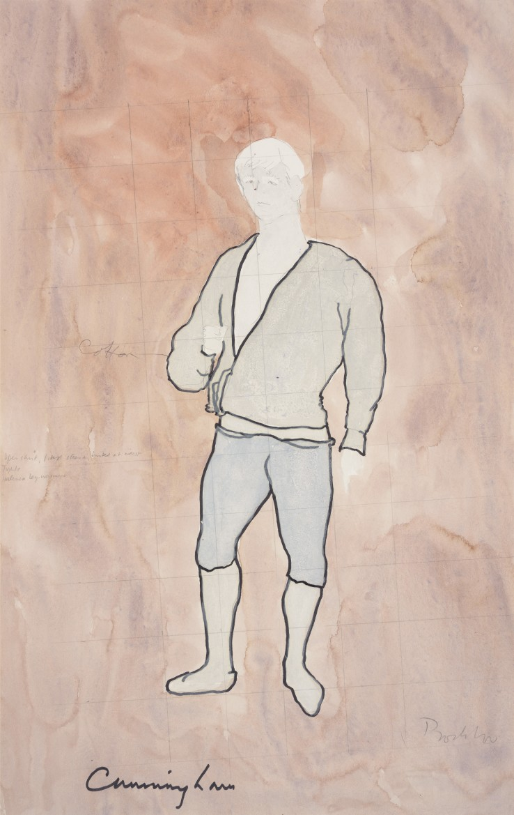 Patrick Procktor RA  Untitled (Costume Design), c.1970  Watercolour and pencil on paper  52 x 33 cm  Signed lower right