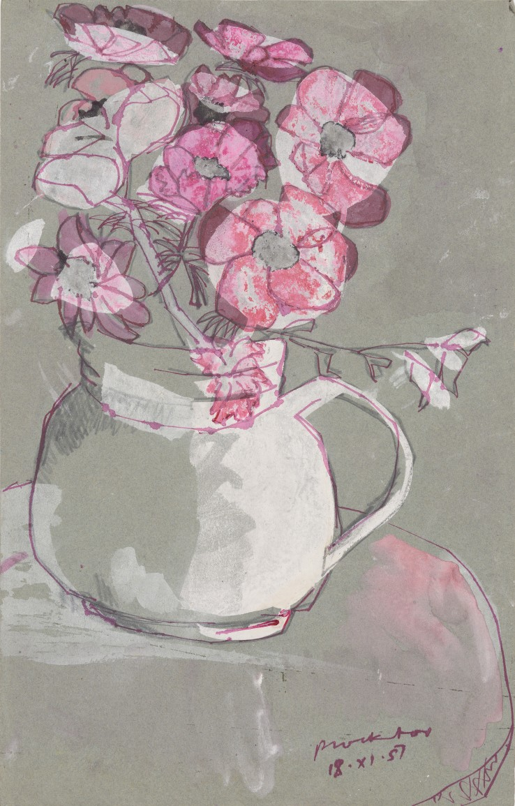 Patrick Procktor RA  Untitled (Flowers in a Jug), 1957  Mixed media on coloured paper  46 x 28 cm  Signed and dated '18-XI-57'