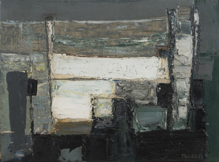 Paul Feiler  Coastline, 1952  Oil on canvas  31 x 41 cm  Signed and dated lower right recto; signed, titled, and dated verso