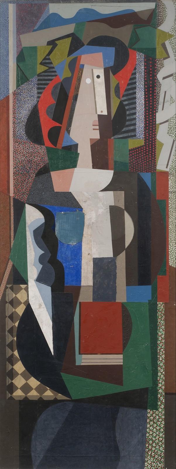 Bryan Ingham  Aysel Ozakin, Rue de Seine, 1991  Oil and collage on board  137 x 51 cm