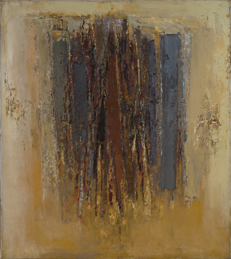 Paul Feiler  Kerris, August, 1957  Oil on canvas laid on wood  91.4 x 81.3 cm  Signed, dated, and titled on verso