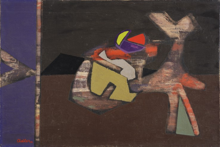 Jankel Adler  Abstract Composition, 1945  Oil on canvas  51 x 76 cm  Signed lower left recto
