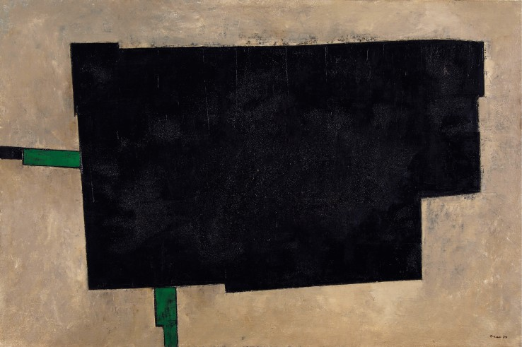 William Gear RA  Black Rectangle, 1957  Oil on canvas  81.5 x 122 cm  Signed and dated recto; signed, dated, and titled verso