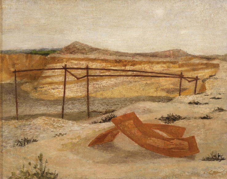 Prunella Clough  Deserted Gravel Pit, c.1946  Oil on board  36 x 49 cm  Signed lower right recto