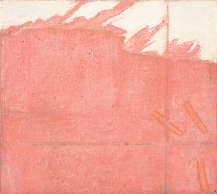Prunella Clough  Pink Edge, 1973  Oil on canvas  41 x 45 cm  Signed verso