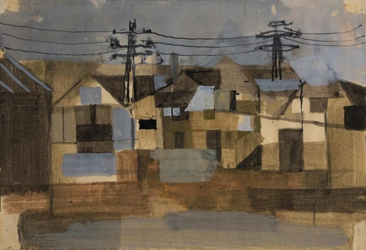 Keith Vaughan  Houses with Telegraph Poles, 1952  Gouache and ink on paper  12 x 18 cm