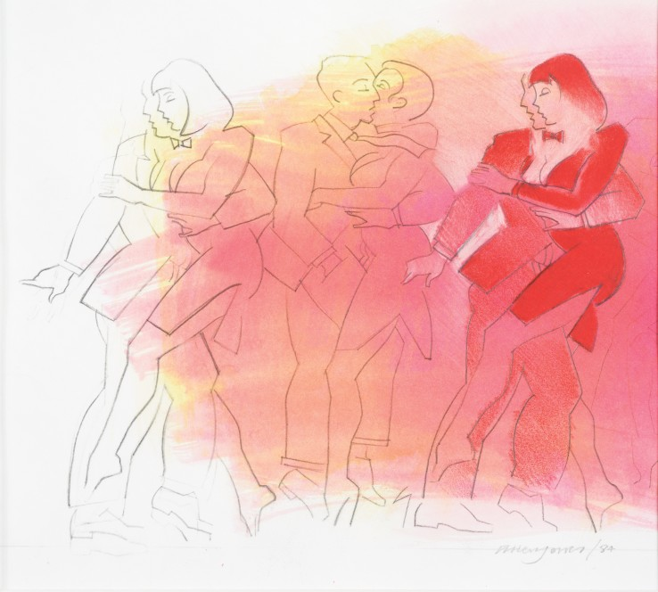 Allen Jones RA  Dancers, 1984  Mixed media on paper  21 x 23 cm  Signed and dated lower right recto