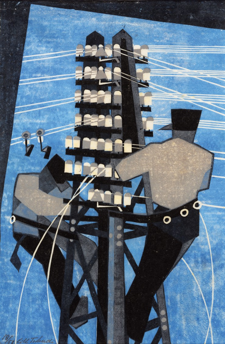 Lill Tschudi  Fixing the Wires, 1932  Linocut on oriental paper  30.2 x 20.2 cm  From the edition of 50 impressions  Numbered and signed in image lower left; titled in margin