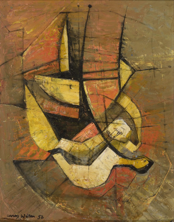 Frank Avray Wilson  Composition with Yellow, 1952  Oil on board  45.5 x 35.5 cm  Signed and dated lower left