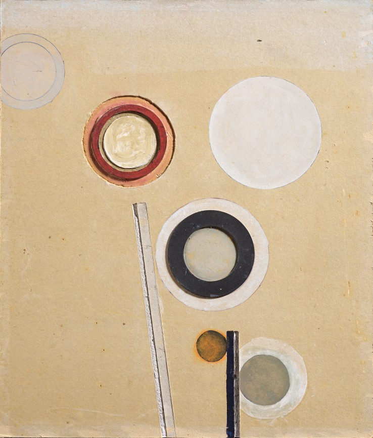 Paul Feiler  Orbis LXI, 1968  Oil on cut plasterboard  36 x 30 cm  Signed, dated and titled verso