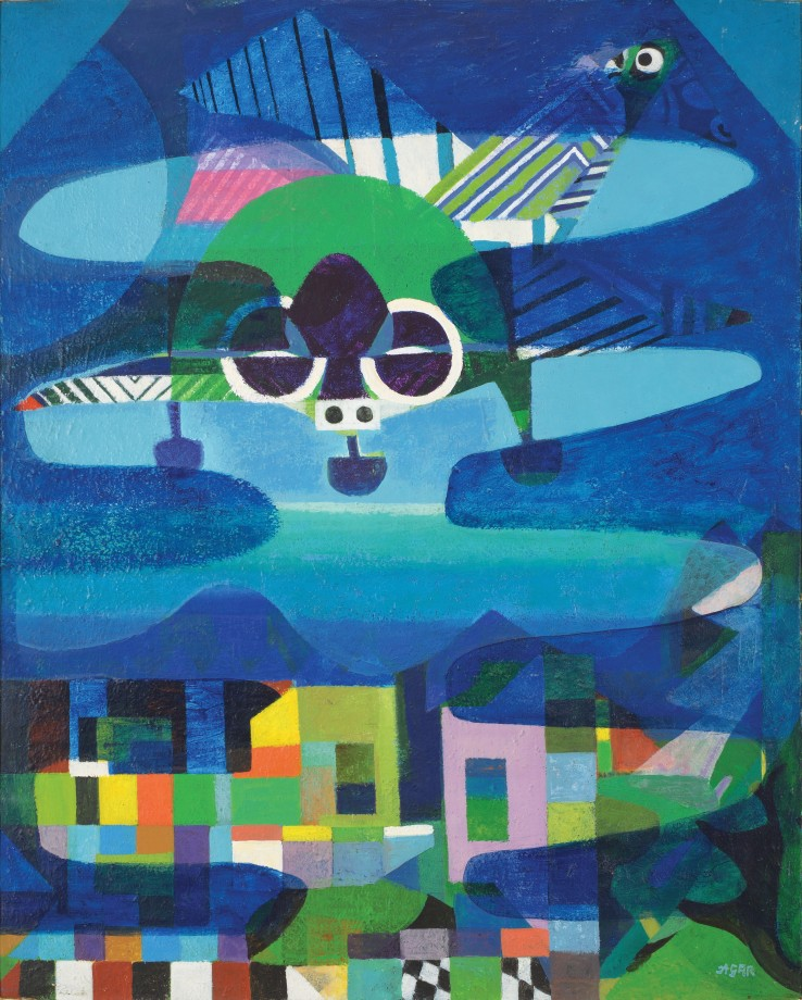 Eileen Agar RA  The Bomber, 1979-80  Acrylic on canvas  101.5 x 81.5 cm  Signed lower right recto; dated and titled verso