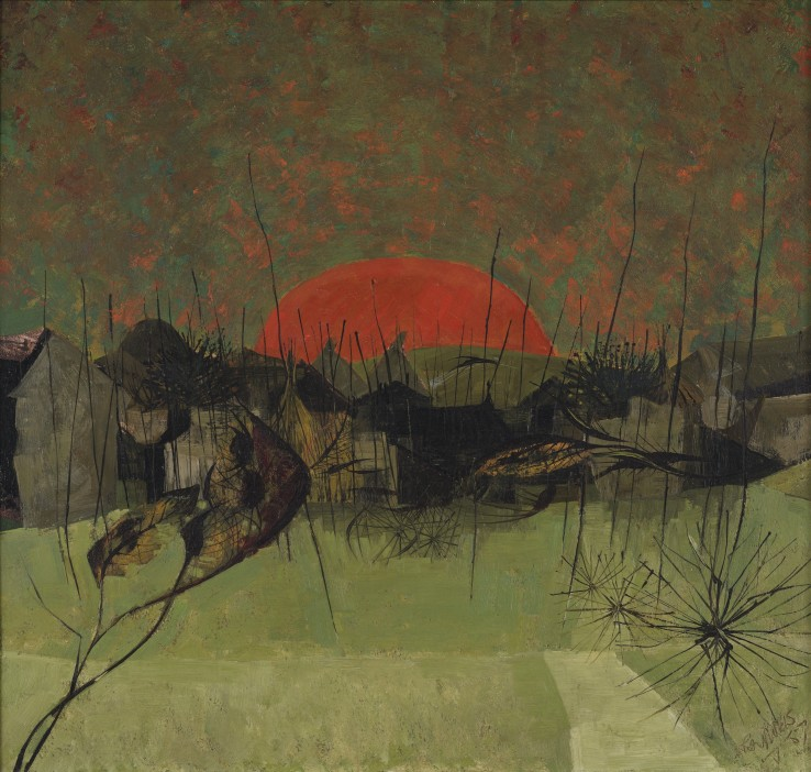 Alan Reynolds  Late Autumn, 1957  Oil on board  44 x 47 cm  Signed and dated lower right recto; titled verso