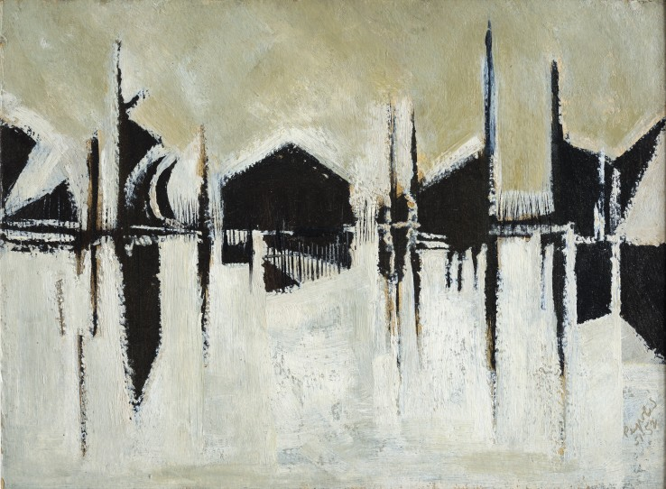 Alan Reynolds  January 1952, 1952  Oil on board  31 x 38 cm  Signed and dated lower right recto; titled verso