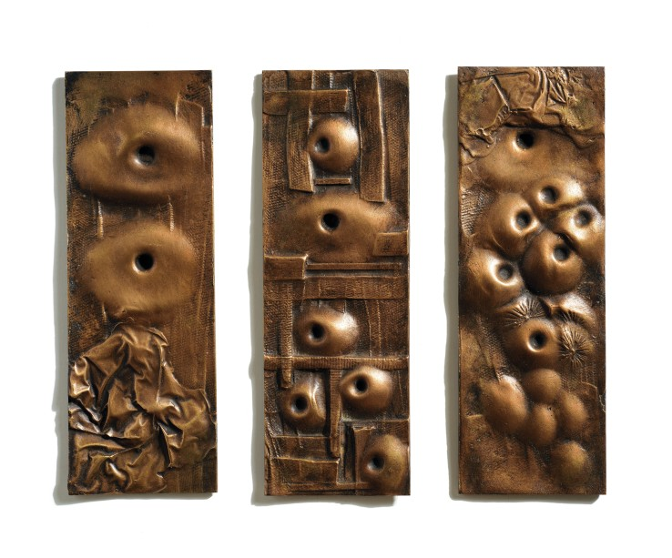Bernard Meadows  Three Small Reliefs, 1966  Brass  28 x 10 cm each  From the edition of 6