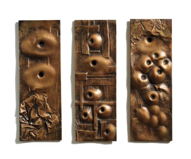 Bernard Meadows  Three Small Reliefs, 1966  Brass  28 x 10 cm each  From the edition of 6