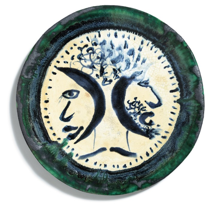 John Piper  Two Heads, 1979  Ceramic  45 cm diameter