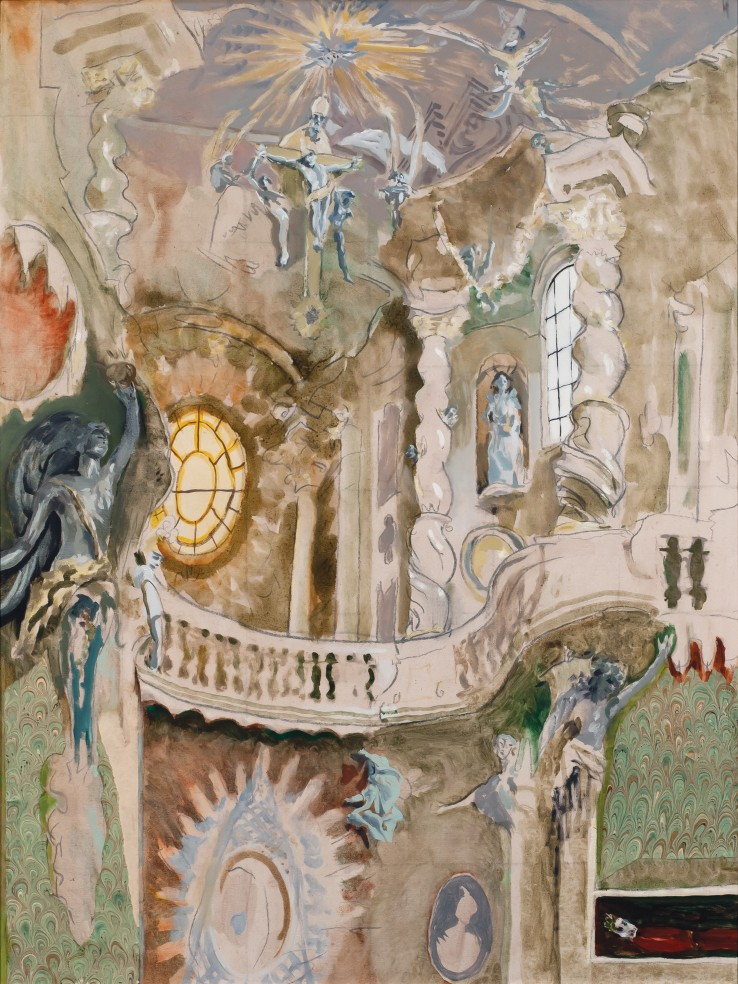 Patrick Procktor RA  Interior of St John the Baptist, 1988  Oil on canvas  102 x 76 cm