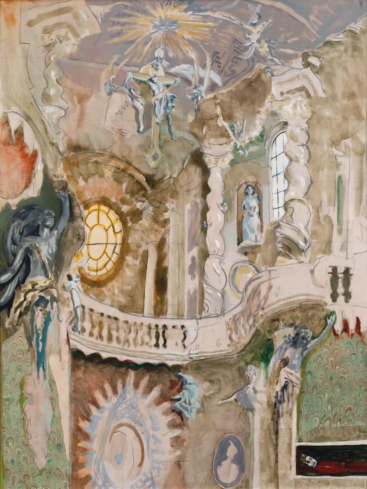 Patrick Procktor RA  Interior of St John the Baptist, 1988  Oil on canvas  102 x 76 cm